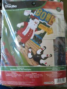 "Bucilla ""Bowling Santa"" Discontinued Felt Christmas Stocking Kit 86452 Rare"