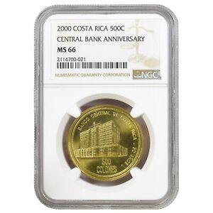Banco Central de Costa Rica 50 Anniversary 500 Colones 2000 NGC MS 66 KM# 236