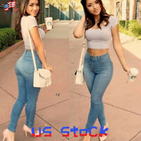 Women High Waisted Stretch Slim Washed Jeans Ladies Pants Faded Basic Trouser US