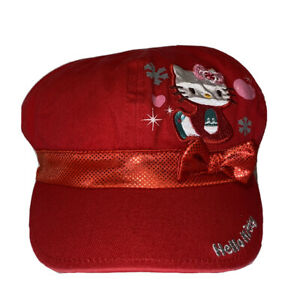 Hello Kitty Red Metallic Bow Girls Hat Cap One Size, Pre Owned
