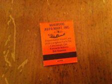 Vintage NORWOOD Auto Mart Inc. Cincinnati Ohio Used Cars E-Z Credit Matchbook