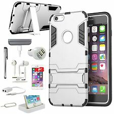 11 PCS Accessory Bundle Sliver Kickstand Case Cover Charger For iPhone 6 6S Plus