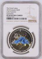 2014 S$20 Canada Silver Lake Superior NGC PF69