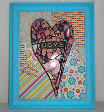 HOME Turquoise Pink Heart Mixed Media Collage Folk Art Mosaic Assemblage Cross