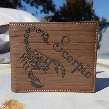 Scorpio Zodiac Sign Wallet Laser Engraved Bifold Tribal Scorpion