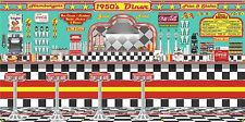 1950s DINER BURGER RESTAURANT SODA FOUNTAIN MURAL SIGN BANNER GARAGE ART 3' X 6'