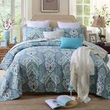 Cotton Floral Quilted Bedspreads Set Queen/King Size Coverlet Bed Linen Throw