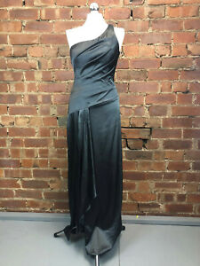 Le Chateau Pewter Satin One Shoulder Full Length Evening Dress  Gown - Size 10
