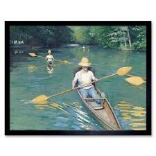 Gustave Caillebotte French Skiffs Old Painting 12X16 Inch Framed Art Print
