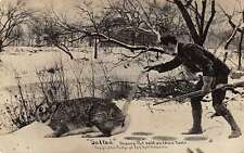 Man with gun salting tail exaggerated Rabbit real photo pc Z15947