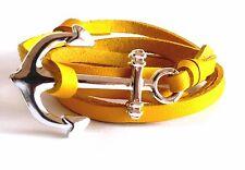 Bracelet cuir synthétique jaune ancre de marin
