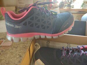 Reebok Women's Sublite Cushion Work, Navy/Pink Alloy Toe Work Shoes, Size 9W