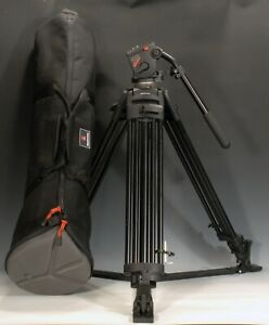 Manfrotto 525 MVB 2-Stage Black Tripod w/ 3460 / 503 Pro Video Fluid Head Unused