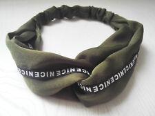 Women Satin Retro Green Army Cross Twist Elastic NICE Headband Hair Band bandana