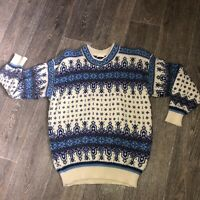 VINTAGE Dale Of Norway Knitted Sweater Jumper Festive Pattern Size S Pure Wool