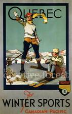 QUEBEC FOR WINTER SPORTS, Vintage Travel Reproduction CANVAS PRINT 24x36 in