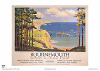 BOURNEMOUTH DORSET VINTAGE RAILWAY POSTER  HOLIDAY RETRO TRAVEL ADVERTISING
