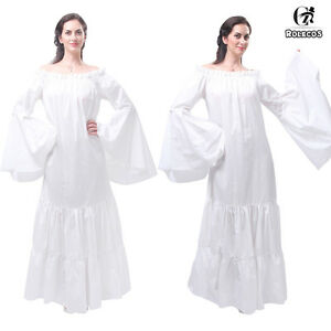 Renaissance Medieval Costume Womens Classic Long Chemise Ruffle Tiered Dress