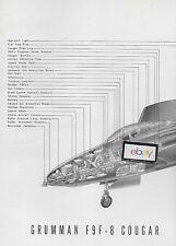 GRUMMAN AIRCRAFT 1954 F9F-8 COUGAR US AIR FORCE 2 PG CUTAWAY DRAWING MCLARREN