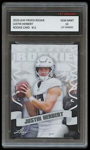 JUSTIN HERBERT 2020 LEAF PRIZED 1ST GRADED 10 ROOKIE CARD LOS ANGELES CHARGERS