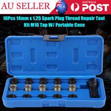 16Pcs 14mm x 1.25 Spark Plug Thread Repair Tool Kit M16 Tap W/ Portable Case