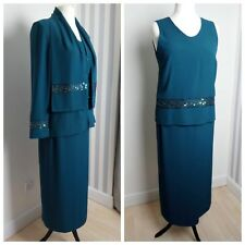 Jacques Vert teal green sequin 4 piece set skirt suit mother of the bride 14