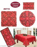 Christmas Poinsettia Bell Placemat Table Runner Tablecloth Holiday RED #6715