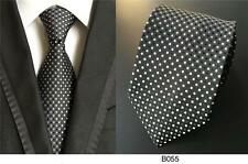Black and White Spot Patterned Handmade 100% Silk Wedding Tie