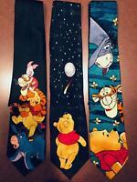 Disney Winnie The Pooh & Friends  Lot of 3 Ties  Multi Colors