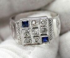 VINTAGE MEN`S 18K WHITE GOLD ROSE CUT DIAMONDS & SAPPHIRES PINKY RING SIZE 10