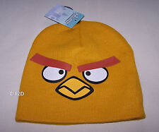 Angry Birds Boys Yellow Bird Printed Acrylic Beanie One Size New