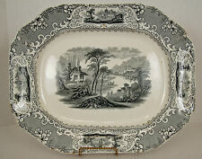 Big 17 Green Grey Antique Platter Lucerne JW Pankhurst c1850 Hanley Transferware