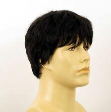 Perruque homme 100% cheveux naturel noir ref LAURENT 1b