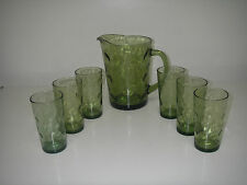 Hazel Atlas Glass EL DORADO Green 7 pc Beverage Set 64 oz Pitcher 6 Tumblers