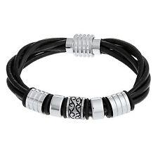 Men's Tera Stainless Steel Black Leather Biker Bracelet