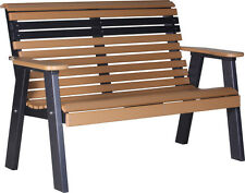 Outdoor Poly Furniture Wood 4 Foot Plain Bench *CEDAR/BLACK COLOR* Amish Made
