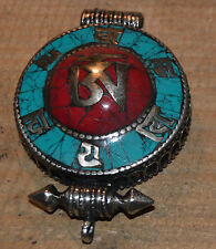 Turquoise & Coral Om Spiritual Melong Pendant Thogchag Hand Made Nepal .