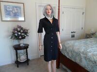 Doncaster Black Nylon Gabardine Belted Shirt Dress Size 6