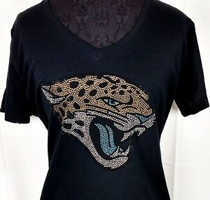 Women's Jacksonville Jaguars Rhinestone Football V-neck T-Shirt Tee Bling lady