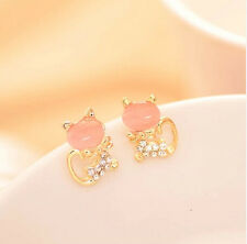 Fashion Women Cute Cat's Eye Head Crystal Rhinestone Gold Lady Ear Stud Earrings