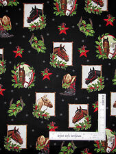 Christmas Horse Holly Star Black Cotton Fabric Holly Jolly Robert Kaufman - Yard