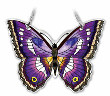 """Purple Emperor Butterfly Amia Sun Catcher Hand Painted Glass 4.25"""" High New"""