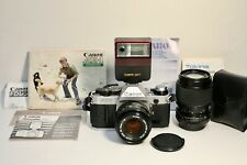 Canon AE-1 Program 35mm SLR Camera 2 Lens+Flash Outfit+Instructions- Excellent!