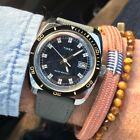 Superb vintage 1970's Timex 24550 manual wind blue patterned dial divers watch