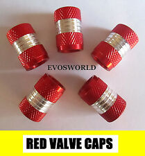 RED CHROME VALVE TYRE DUST WHEEL CAPS FORD KA HATCHBACK