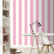 STRIPE WALLPAPER PINK AND WHITE RASCH 286908 - GIRLS FEATURE WALL NEW