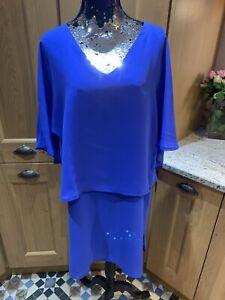 BIBA Dress Size 14 Blue NEW Cape Gold Zip Back Shift Knee Length Party Cocktail