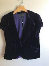 BCBG MAX AZRIA Women's Velour Purple Blazer  Jacket Top Size L short Sleeve
