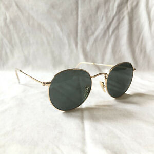 Ray-Ban 3447 001 Round Frame Sunglasses Gold with Green Frames