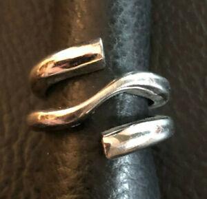 Sterling Silver Ring Wrap Twist Band CZ End Caps Sign MELAN Sz 7.5 10g 925 #1266